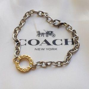 Coach Paved Circle Charm Chain Link Bracelet